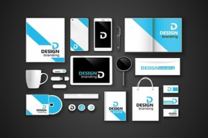 Set of corporate identity and branding on dark background. Vector illustration